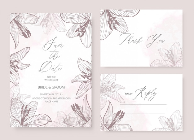 Invitación de boda elegante plantilla de tema con decoración floral lily.