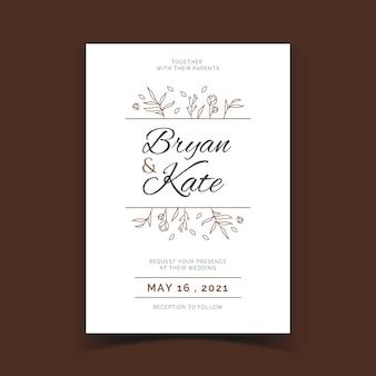 Invitación de boda elegante plantilla