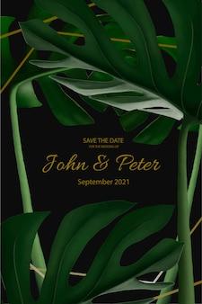 Invitación de boda elegante sobre un fondo negro