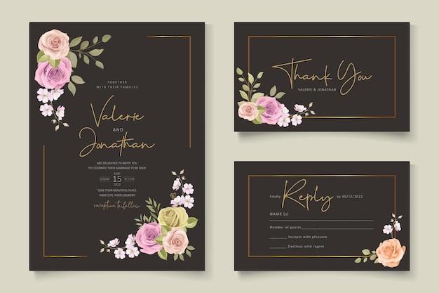 Invitación de boda elegante con tema floral dibujado a mano
