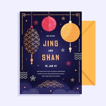 Invitación de boda con elementos chinos