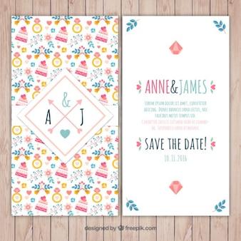 Invitación de boda con los elementos dibujados a mano de la boda