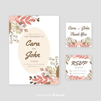Invitación de boda con elementos florales acuarelas