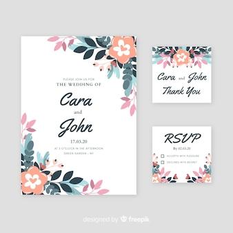 Invitación de boda con elementos florales.