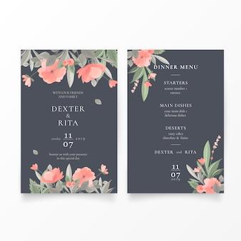 Invitación de boda encantadora y plantilla de menú