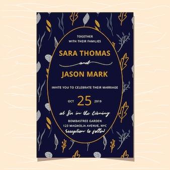 Invitación de boda con estampado de flores