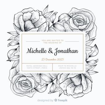 Invitación de boda estilo dibujado a mano