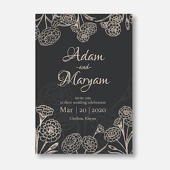 Invitación de boda estilo de diseño de tarjeta minimalista con belleza doodle dibujado a mano clavel flor ornamento esquema vintage