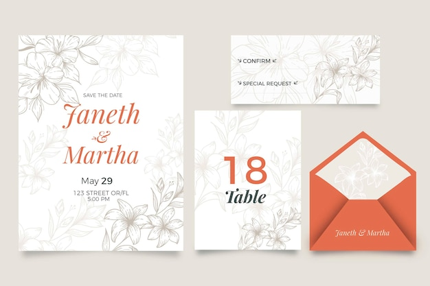 Invitación de boda con estilo floral
