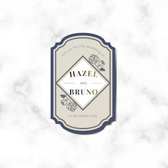 Invitación de boda etiqueta vector de etiqueta