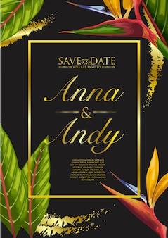 Invitación de boda con exóticas hojas tropicales de fondo.