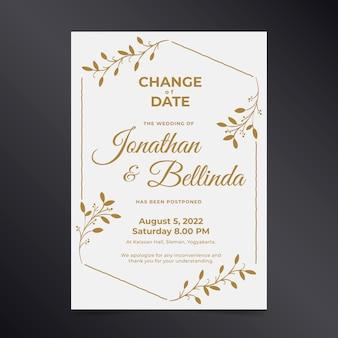 Invitación de boda con fecha postergada