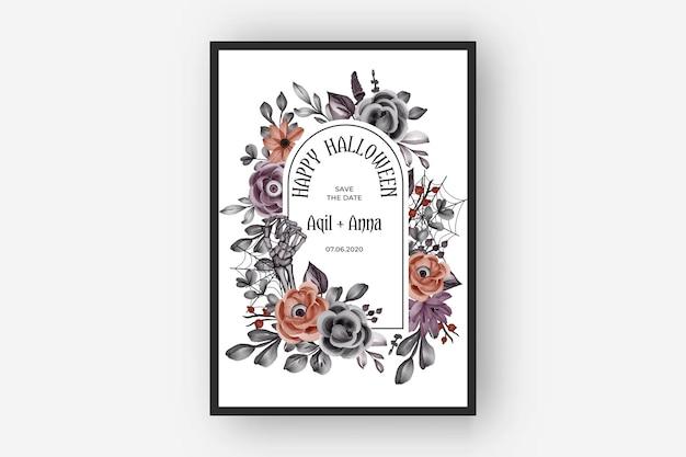 Invitación de boda feliz marco de halloween con ojos de flores de miedo