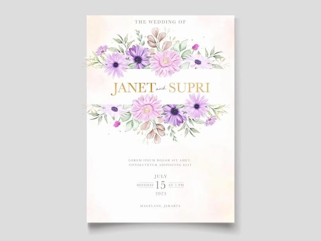 Invitación de boda con flor de crisantemo suave