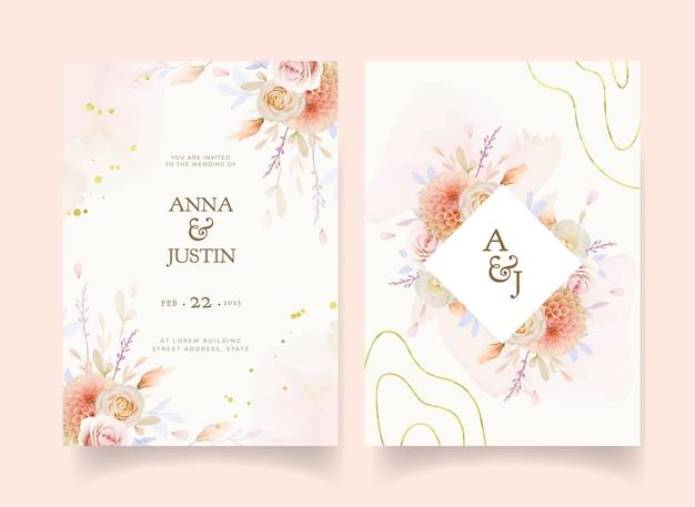 Invitación de boda con flor de dalia y rosa acuarela