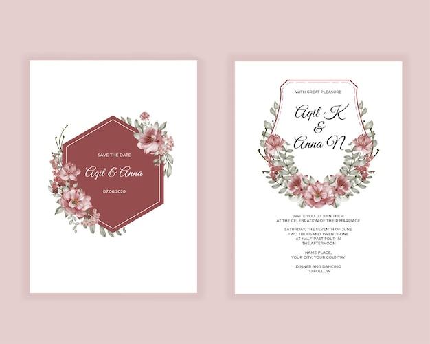 Invitación de boda flor rosa burdeos acuarela
