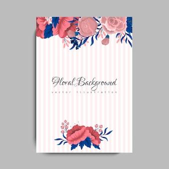 Invitación de boda con flor rosa