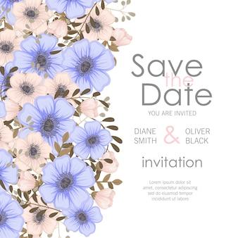 Invitación de boda con flor violeta.
