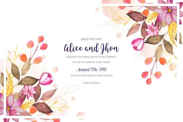 Invitación de boda floral acuarela