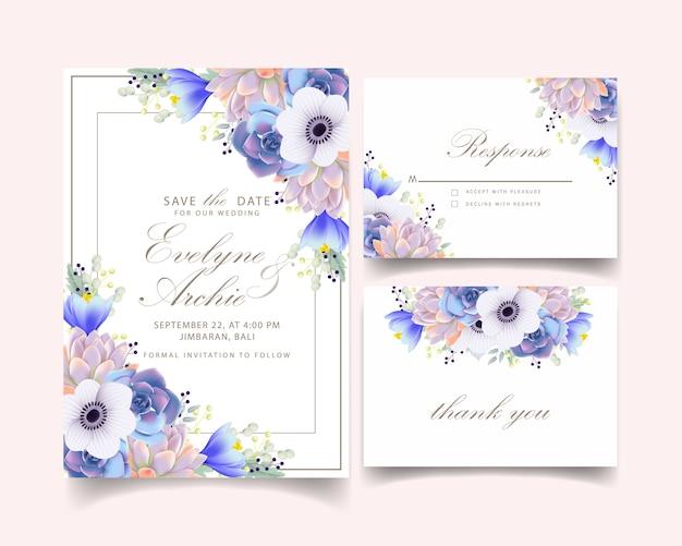 Invitación de boda floral con anémona flor y suculenta.
