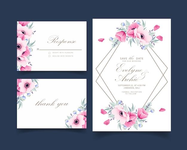 Invitación de boda floral con anémona y flores de amapola.