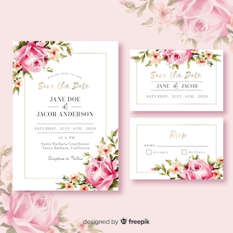 Invitación de boda floral colorida