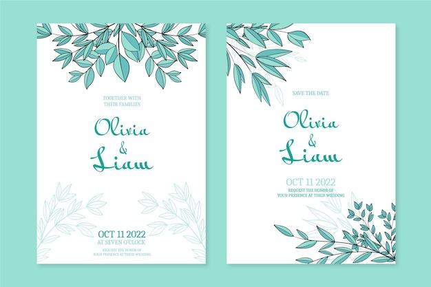 Invitación de boda floral dibujada a mano grabado