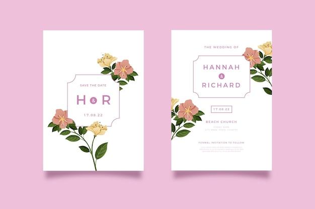 Invitación de boda floral dibujada a mano