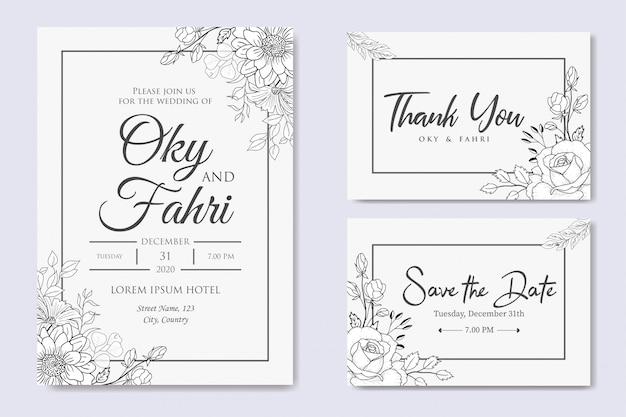 Invitación de boda floral dibujado a mano