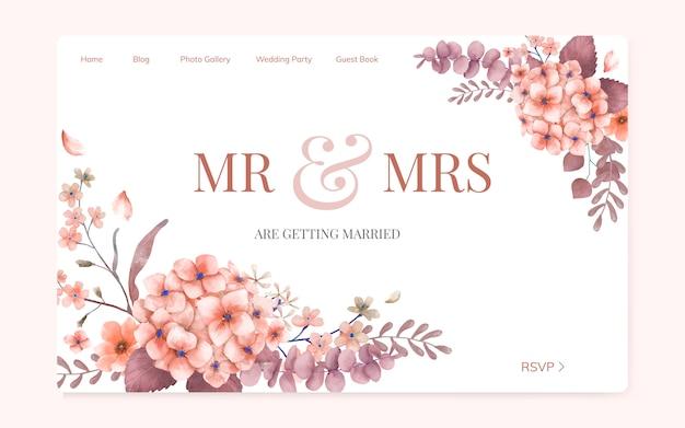Invitación de boda floral diseño de página web.