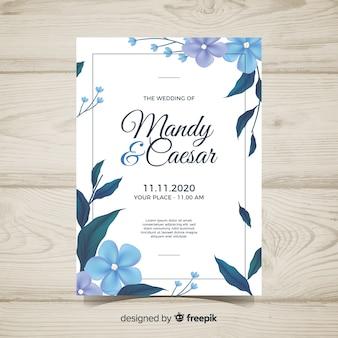 Invitación de boda floral con diseño realista