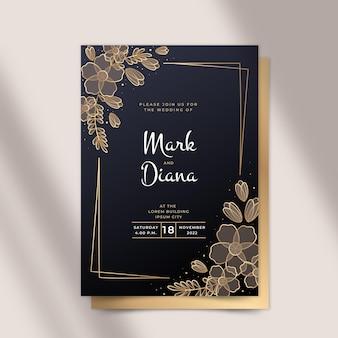 Invitación de boda floral dorada degradada