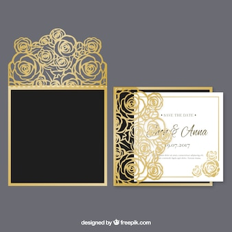 Invitación de boda floral dorada