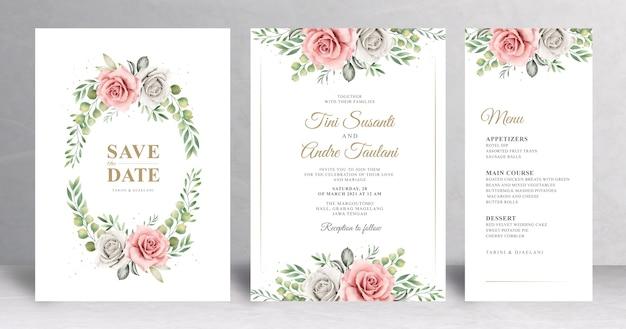 Invitación de boda floral drwan mano