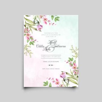 Invitación de boda floral elegante y minimalista dibujada a mano