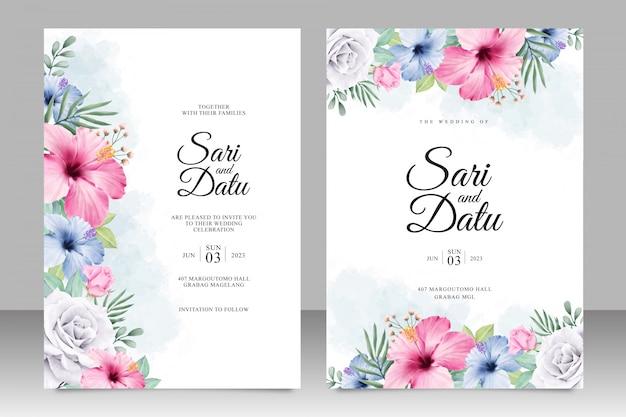 Invitación de boda floral establece plantilla acuarela