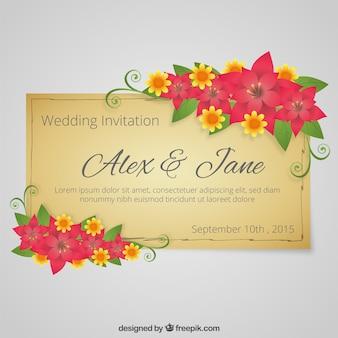 Invitación de boda floral en estilo retro