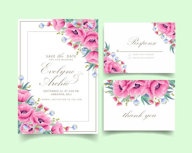 Invitación de boda floral con flor de amapola y eucalipto