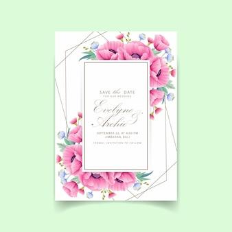 Invitación de boda floral con flor de amapola