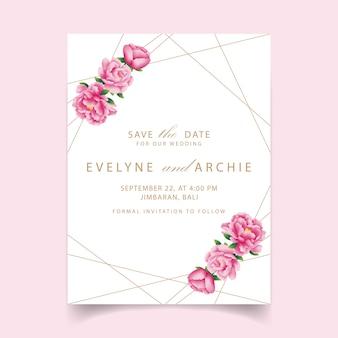 Invitación de boda floral con flor de peonía.