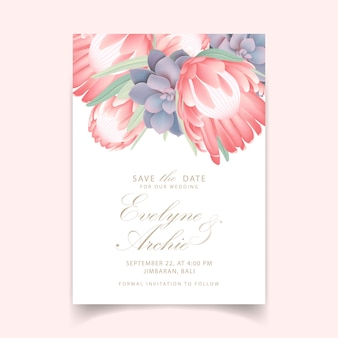 Invitación de boda floral con flor protea y suculenta.