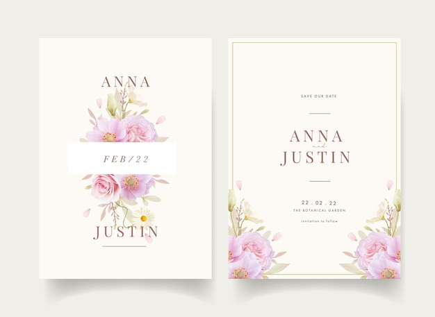 Invitación de boda floral con flores acuarelas rosas y anémonas