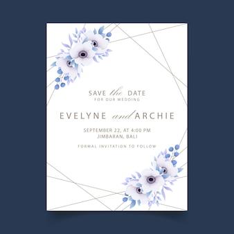 Invitación de boda floral con flores de anémona