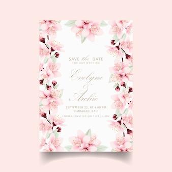 Invitación de boda floral con flores de cerezo.