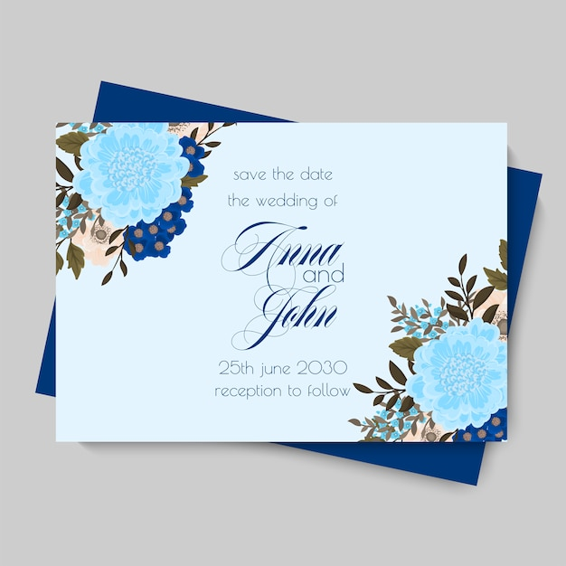 Invitación de boda floral - flores de color azul claro