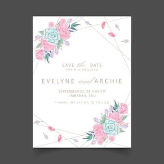 Invitación de boda floral con flores de rosas y suculentas.