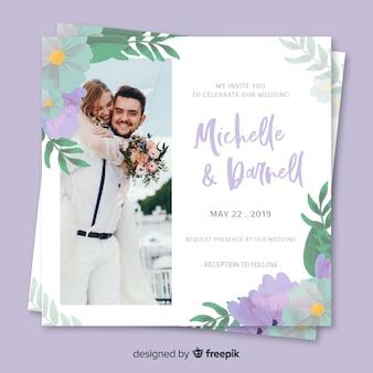 Invitación de boda floral con foto