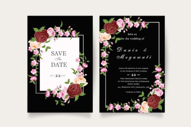 Invitación de boda floral granate romántica