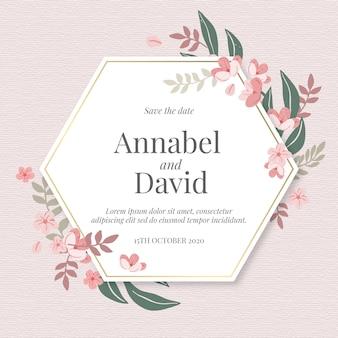 Invitación de boda floral handrawn con hexágono