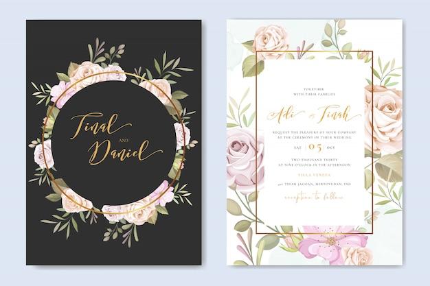 Invitación de boda floral hermosa con plantilla de marco de rosas